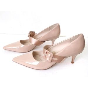 ZARA Blush Kitten Heel Court Shoes Buckle Patent